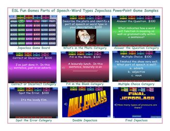 Parts of Speech-Word Types Jeopardy PowerPoint Game