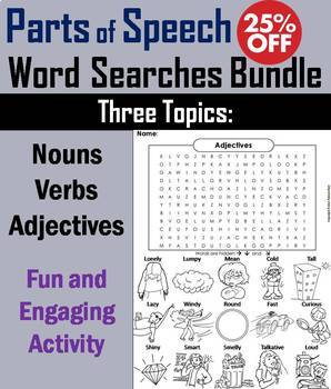 Parts of Speech Worksheet: Verbs, Nouns and Adjectives Word Search Bundle