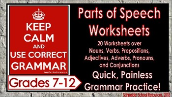 Parts of Speech (Grammar) Worksheets for Middle and High School