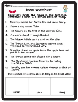 Parts of Speech Wizard of Oz Themed Worksheets {Freebie}