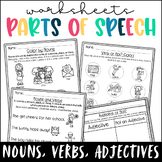 Parts of Speech Worksheets- Nouns, Verbs, Adjectives