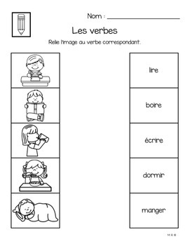 Parts of Speech Worksheets in French (nouns, verbs, adjectives)
