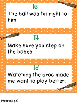 Parts of Speech: Write-the-Room Activities! {baseball themed}~ L.3.1