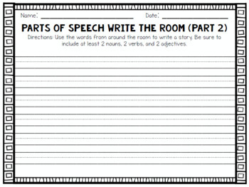 Parts of Speech Write the Room | Nouns, Adjectives, Verbs Activity