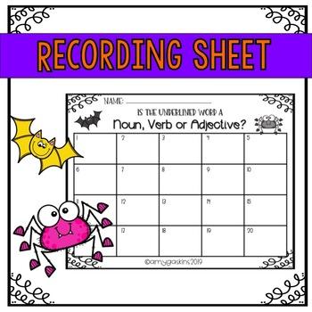 October Task Cards- Parts of Speech