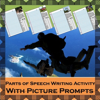 Parts of Speech Writing Activity with Picture Prompts: Centers or Assessment