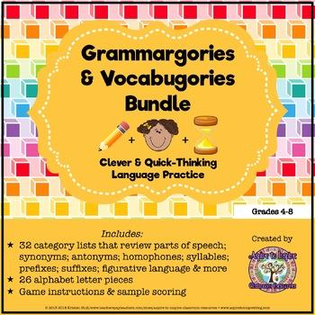 Parts of Speech and Language Review: Grammargories and Vocabugories Bundle