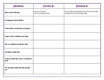 Parts of Speech and Sentence Correction Interactive Notebook Printable