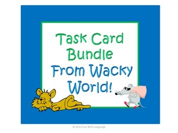 Parts of Speech and Verb Tense Task Card Bundle with Sente