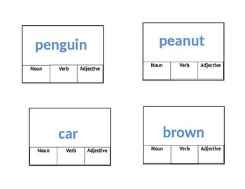 Parts of Speech clip cards