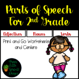 Parts of Speech for Second Grade Adjectives, Nouns, and Ve