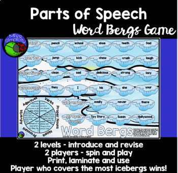 Parts of Speech game - spin and cover WINTER THEME