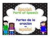 Parts of Speech in Spanish 3rd Grade Language Standards~Partes de la oración