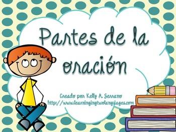 Parts of Speech Posters in Spanish PLUS PPT / Partes de la