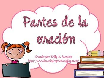 Parts of Speech Posters in Spanish PLUS PPT / Partes de la oración color pastel