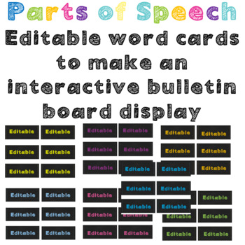 Parts of Speech interactive Posters- Chalkboard Brights pattern