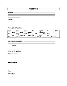 Parts of Speech notes & practice