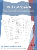 Parts of Speech, noun/pronoun/adj/determiner/verb/adverb/preposition/conj/inter