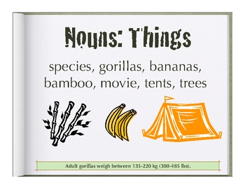 Parts of Speech: nouns, adjectives, verbs, and adverbs & Gorillas