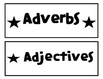 Parts of Speech (nouns, verbs, adjectives, adverbs)  word sort