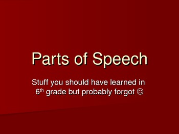 Parts of Speech powerpoint ppt