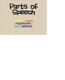 Parts of Speech review for nouns, verbs, adverbs, and adjectives