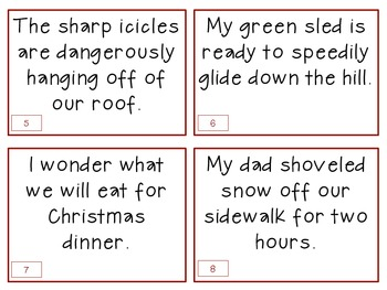 Parts of Speech task cards:  Winter Themed
