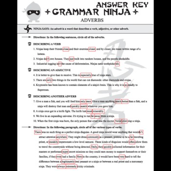 Parts Of Speech With Adverbs Grammar Ninja By Created For Learning