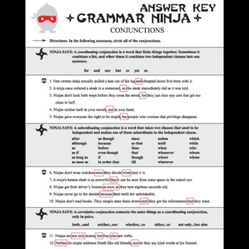 Parts Of Speech With Conjunctions Grammar Ninja By Created For