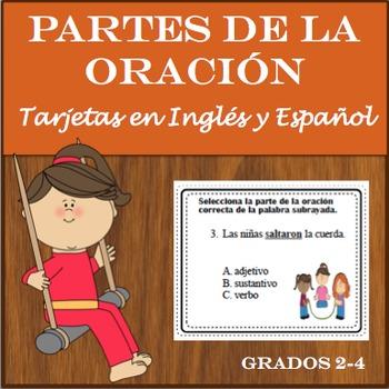 Parts of Speech/Partes de la Oracion - Task Cards & WS in English & Spanish