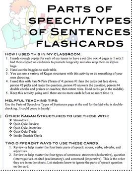 Parts of Speech/Types of Sentences Flashcards