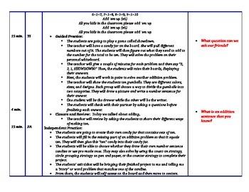 Parts of Ten Math Lesson Plan- 1st Grade