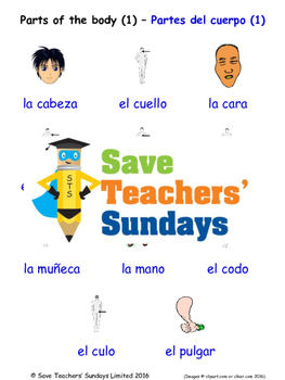 Parts of The Body in Spanish Worksheets, Games, Activities