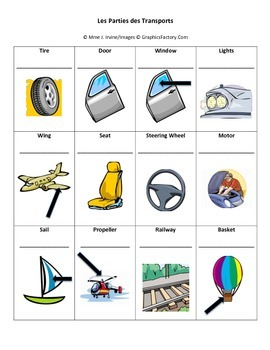 Parts of Transportation Vocabulary Printing Page
