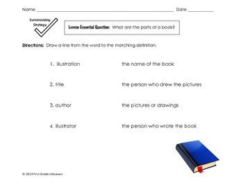 Parts of a Book 2 Exit Ticket