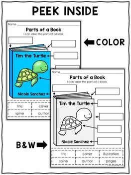 Parts of a book worksheets for grade 1