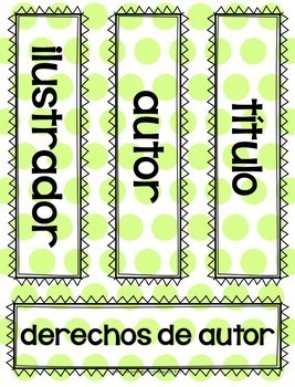 SPANISH Parts of a Book Dice Game for Classroom or School Library Media Center