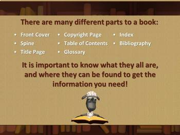 Parts of a Book PowerPoint Lesson