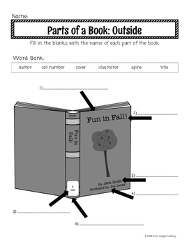 original 2725172 3 parts of a book lesson plans by mrs lodge's library tpt