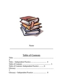 Parts of a Book Lessons - Table of Contents, Index, Glossary, Titles