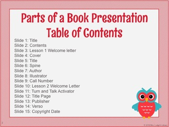 Parts of a Book PowerPoint Presentation