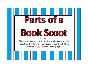 Parts of a Book Scoot Game
