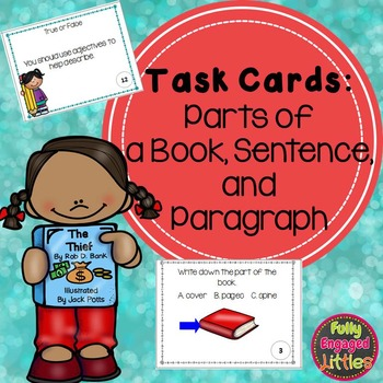 Parts of a Book, Sentence, and Paragraph-Task Cards