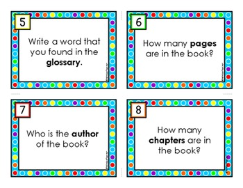 Parts of a Book Task Cards