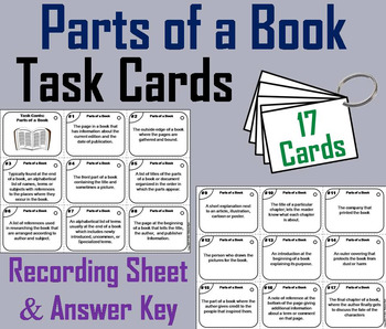 Parts of a Book Task Cards 3rd 4th 5th Grade