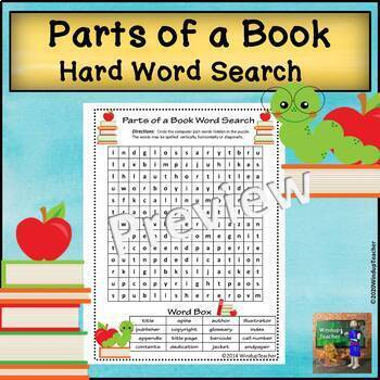 Parts of a Book Word Search * Elementary