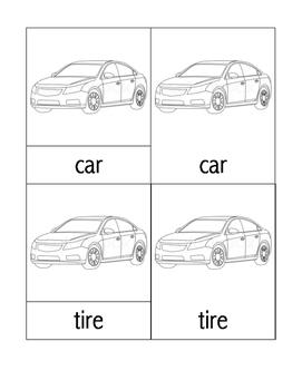 Parts of a Car Nomenclature Cards