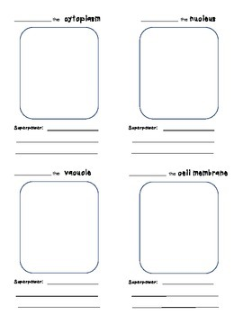 Parts of a Cell Superhero Cards