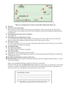 Parts of a Check Handout and 12 Question Test