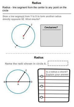 Parts of a Circle 3rd 4th 5th Geometry Word Document Handouts